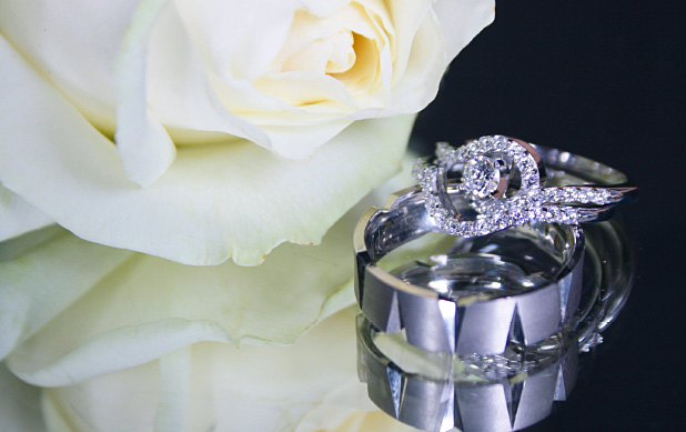 1 Gents' 9ct white gold handcrafted 6mm band, £345, and ladies 18ct white gold ring, £1995, John McKay Jeweller