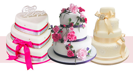 From left: Cakes & Dreams' heart-shaped tiered cake makes a pretty alternative to standard round layers; scattered with romantic pink flowers, this pretty Rose cake by Sugar Petals looks too good to eat; it's increasingly popular for the bride to incorporate some of her dress details into the cake – this vintage-inspired number from Sugar & Spice features delicate lace icing