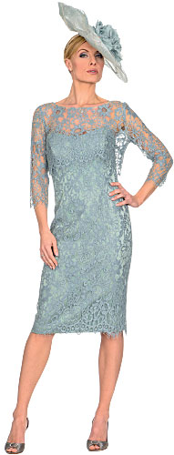 French Lace Dress With Back And Boned Inner Bodice Matching Jacket Available In