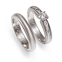 The unique platinum wedding and engagement rings, made by Katie herself at The Ringmaker