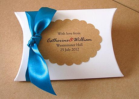 Pillow boxes with double satin ribbon, £7.50, Shinta Shop