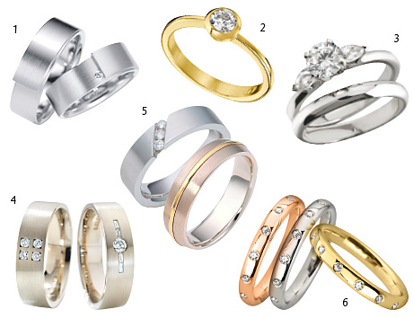 1 Tenera 5mm-wide ring with one 0.015ct diamond, from £780 in palladium, plain band, from £725 in palladium (white gold and platinum available too), Orro  2 Contemporary yellow gold and 0.5ct diamond ring, £2662, Sheila Fleet  3 Brilliant-cut and pear-shape diamond trilogy ring in platinum, from £3995, and matching platinum band, from £900, Ian Mundie & Son 4 Platinum and palladium bands with diamonds, POA, Rooney Goldsmiths 5 3.5mm width with three 0.01ct brilliant-cut diamonds (available in a variety of metals and a gents' width), from £425, John McKay Jewellers 6 Gents' 7mm 9ct white gold band with a yellow gold inlay (also available in platinum and palladium), from £475, John McKay Jewellers 7 18ct pink, white and yellow gold diamond-set wedding bands, from £900 each, Ian Mundie & Son Page 394 for stockist details