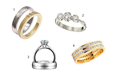 1 Hammered-finish palladium ring, £265, and 9ct yellow gold ring with 18ct white gold detail, £450, both The Ringmaker 2 Trilogy 0.43ct diamond ring in palladium, £1971, Sheila Fleet 3 18ct white gold brilliant-cut solitaire diamond ring, from £999, John Macintyre & Son 4 18ct yellow gold two-row princess-cut diamond full eternity ring, POA, John Macintyre & Son Page 394 of Issue 35 for stockist details