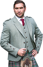Green Clunie tweed crail jacket and waistcoat with Ancient Craig kilt, made to measure or whole outfits to hire from Slanj Kilts