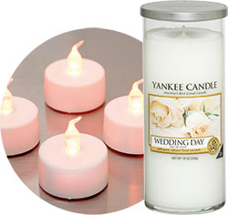 LED candles and tea-lights can look just as good as the real thing, Dotcomgiftshop. This large Wedding Day pillar candle gives off a beautiful scent, Yankee Candle.