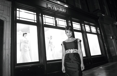 Above: designer Kavelle Kaur wearing one of her own couture creations outside the boutique