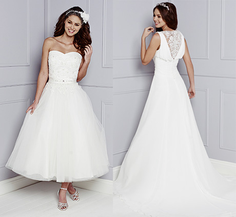 Left: Trixie short gown with embroidered lace fitted bodice and tulle skirt. Right: Francesca soft chiffon gown with encrusted back