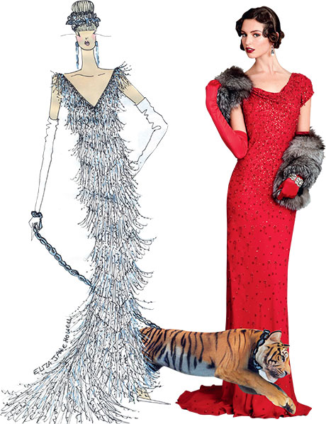 From left: one of Gill's sketches illustrating how her gowns begin to come to life; Myrna hand-beaded, bias-cut gown with cowl neck and short train, around £1200
