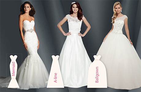 Left to right: Style 2526 by Alfred Angelo, April by Amanda Wyatt and Style 68019 by Ronald Joyce