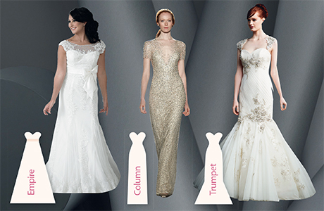 Left to right: Laura by Brides by Harvee, Jocasta by Jenny Packham and Jade by Enzoani