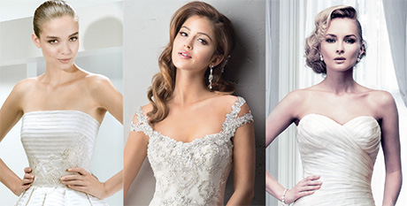 Left to right: Style 5000 by Jesús Peiró, Ettiene by Sottero & Midgley and Bewitched by Ian Stuart