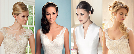 Left to right: 68005 by Ronald Joyce, Style 9201 by Allure Bridals, Style 15002 by Oronovias and Style 2601 by Mori Lee