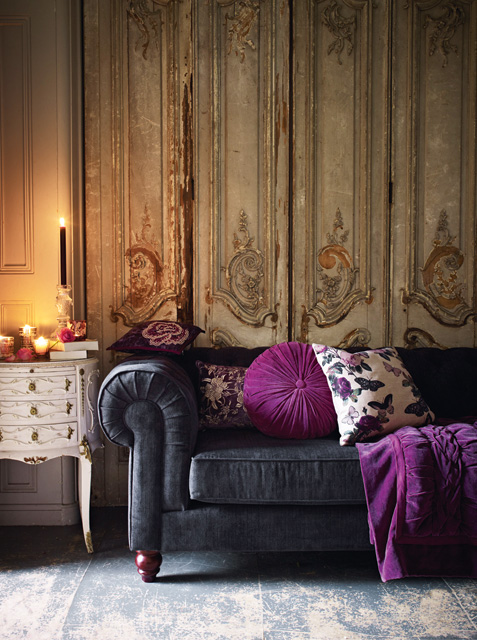 Above: Bloomsbury sofa, £2000; cushions, £25 to £28; throw, £120; candlestick, £12; candles, £8 to £10; votives, £15 for a set of three; and tealight holder, £8; all Debenhams