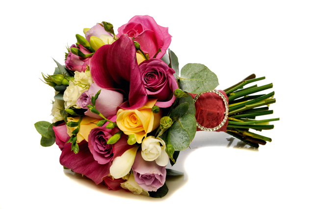 Bouquet of Cool Water roses, Crème de la Crème roses, Ocean Song roses, Snowflake white spray roses, white freesias, cerise calla lilies and eucalyptus foliage, The Black Orchid