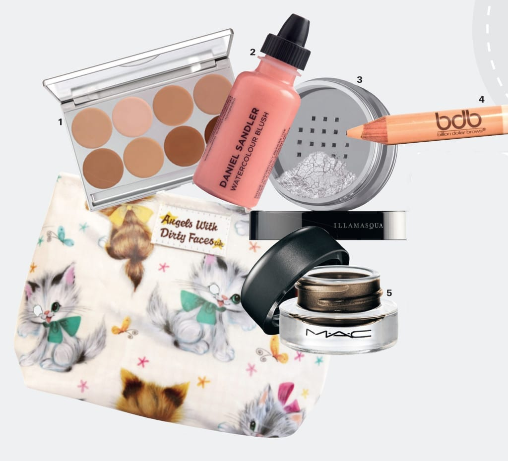 "1 ""Buildable coverage and no SPF which means no ghost-like effects on your images. As this product is designed with HD photography/film/TV work in mind, it photographs amazingly well."" Kryolan Micro Foundation 8 Colour palette, £66.75, Extreme Makeup 2 ""This shade works on so many different skin tones and leaves a gorgeous, fresh, youthful effect on the skin."" Watercolour Fluid Blusher in Cherub, £15.50, Daniel Sandler 3 ""One of the best – use it to set concealer, foundation, take away shine and to set the lips"" Loose Powder in 010, £24, Illamasqua 4 ""A highlighter and concealer, it's such a versatile product and also perfect for the bride's touch-up kit."" Billion Dollar Brows Duo Pencil, £15.80, Beautybay.com 5 ""A creamy gel formula which blends so well and gives fabulous definition on the eyes to make them pop."" Fluidline in Dipdown, £15.50, MAC Bag Oil cloth makeup bag, £12, Not On The High Street."