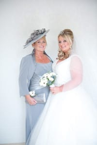 Blushing bride Laura with her proud mum