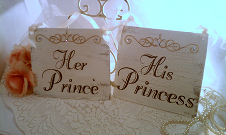Have a right royal knees up with these wedding table signs, £27.72, RomanticPlanet at Etsy.com