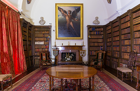 The recently renovated Drum Castle library, where you can have your ceremony surrounded by leather-bound volumes