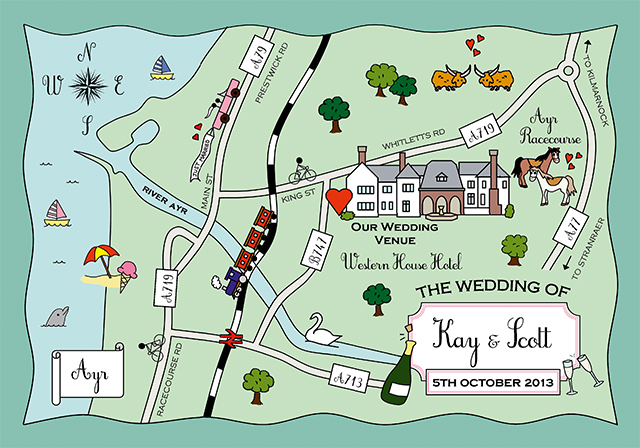 Cute Maps makes bespoke illustrated maps of your wedding destination that can be sent as save the dates or inserted into your main invite, from £120 for 50 postcards