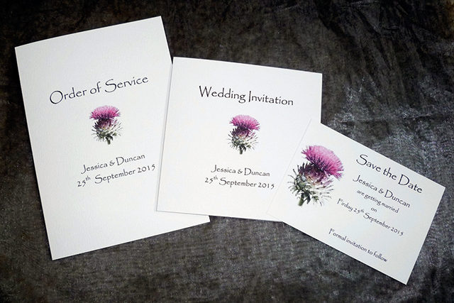 Frosted Thistle is one of The Tartan Card Company's  best sellers and has a very subtle sparkle effect on the flower. A5 order of service, £2.25