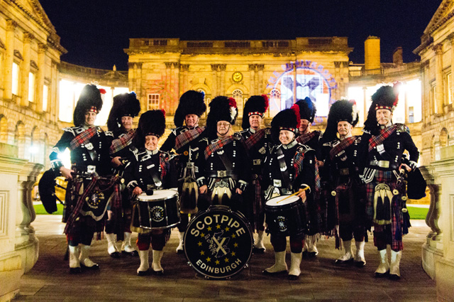 The Scotpipe pipe band produces maximum sound;