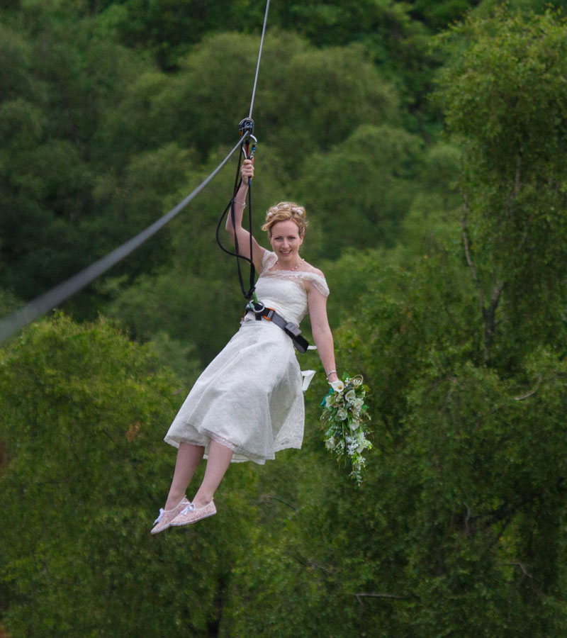 Go Ape Bride Zips to Wedding Ceremony