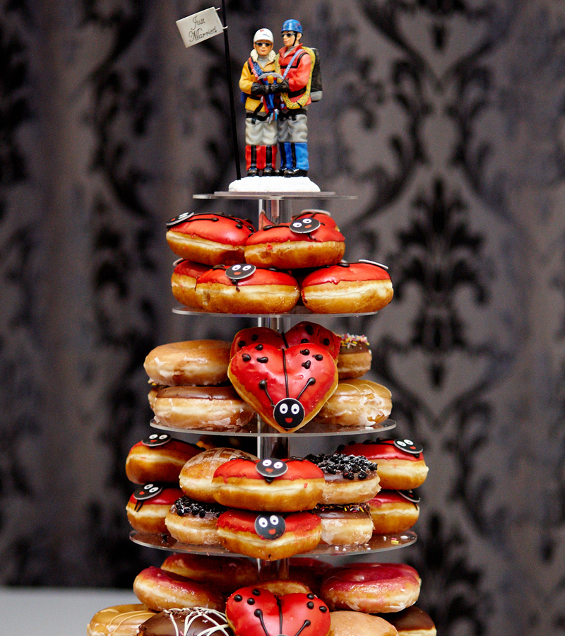 The delicious doughnut tower at Kimberley and Neil's big day. Photo by Julia Molner