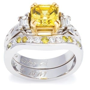 Engraved rings in platinum, yellow and white diamond, POA, The Ringmaker