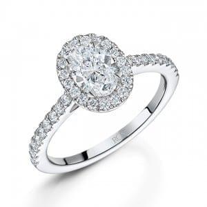 Oval diamond halo ring, 1.13ct, £6800, ROX