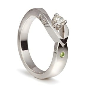 18ct white gold, white diamond and green diamond ring, POA, The Ringmaker