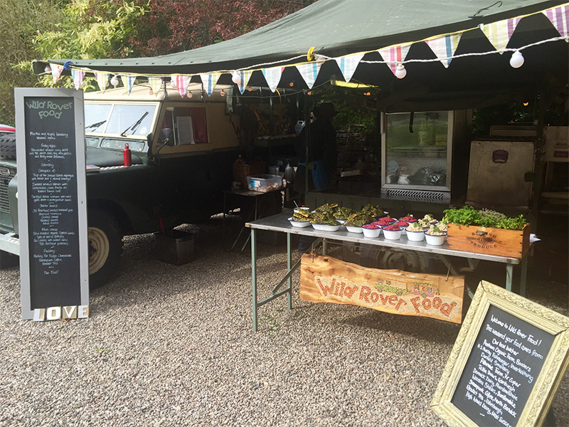 The team behind Wild Rover Food have a lot of experience in real outside catering, as their rugged Land Rover and gazebo proves!