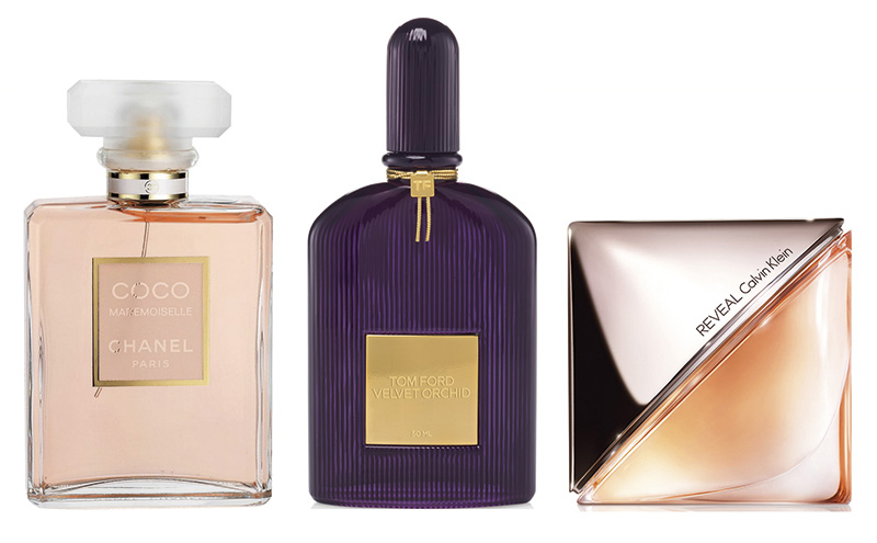 Chanel Coco Mademoiselle, Tom Ford Velvet Orchid and Calvin Klein Reveal