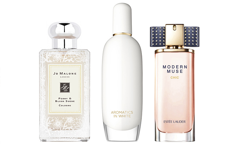 Jo Malone London Peony & Blush Suede Bridal Lace Collection cologne, £86 for 100ml. Clinique Aromatics in White eau de parfum, £55 for 50ml. Estée Lauder Modern Muse Chic eau de parfum, £45 for 30ml.
