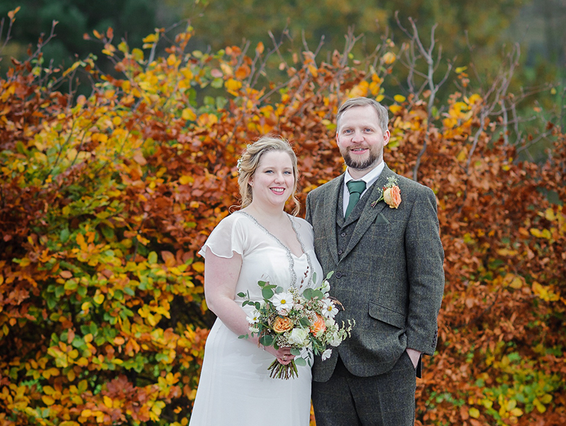 Daniel Rannoch, who took this photo, spotted that the autumn colours perfectly matched the bride's bouquet and the groom's buttonhole, and positioned the couple accordingly (fern-wedding-photography.co.uk)