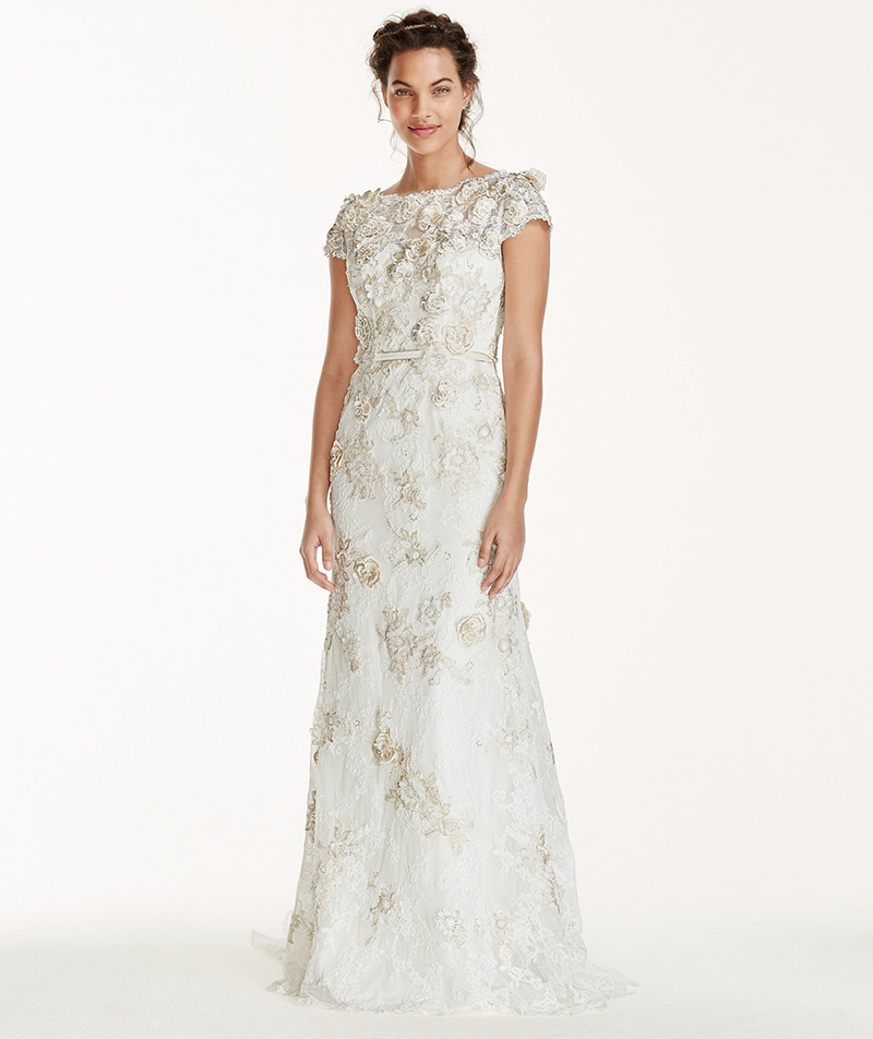 3D floral appliqué adds texture to Melissa Sweet's elegant MS251120 gown, £1695, exclusive to David's Bridal