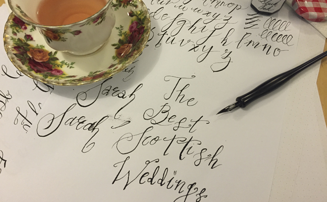 We try calligraphy with laura e patrick tie the knot