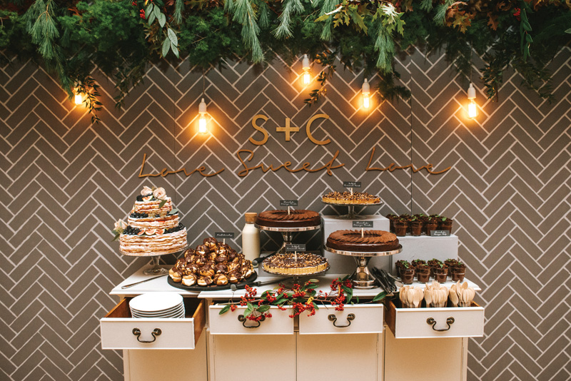 Assemble your baked goodies on a sophisticated sideboard as LemonBox Studios has done – the last thing you want is for the spread to look like a bake sale