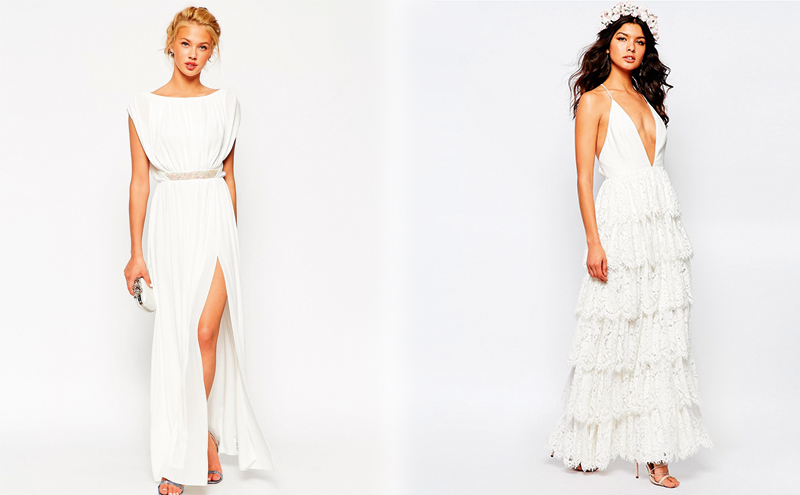 Embellished waist maxi dress, £65 & Tiered maxi dress, £275, Fame and Partners, both at ASOS