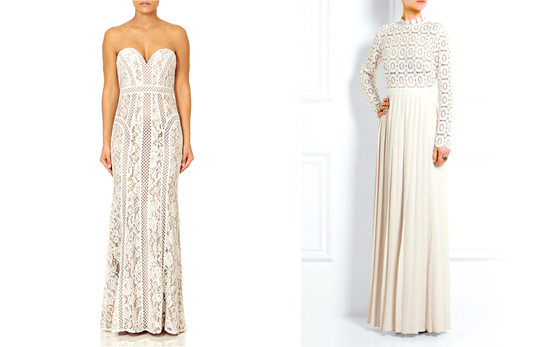 Georgette ivory strapless maxi dress £360, Forever Unique & Guipure lace and crepe maxi dress £325, Net-a-Porter