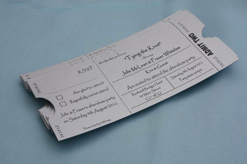 The couple's movie stub-style invites