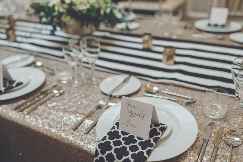 A stunning sequined tablecloth from Ginger & Lime Events