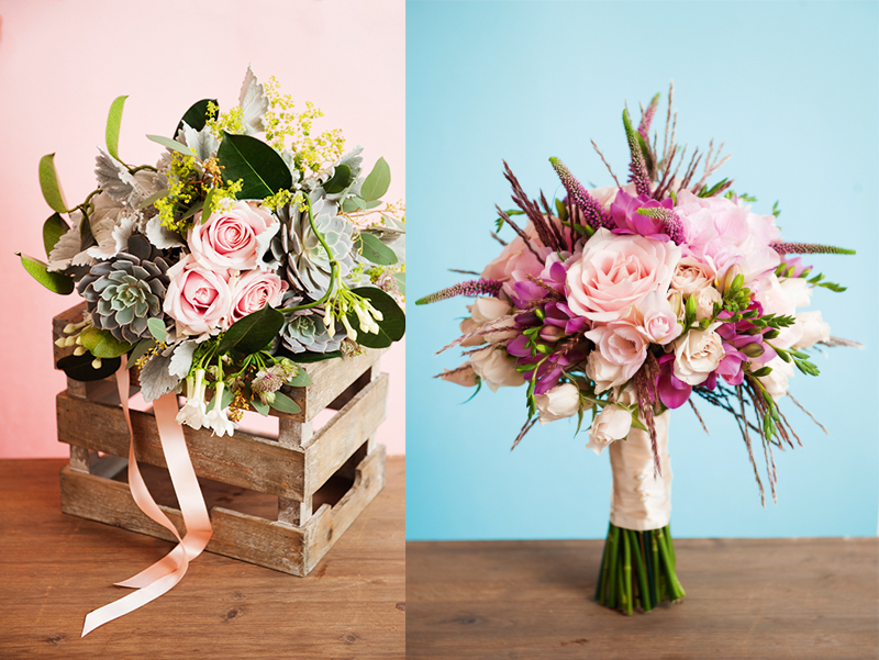 [Left and right] Pair exquisite pale pink roses with sculptural veronica or succulents for a dramatically different look as Lorraine Wood Flowers has done beautifully (lorrainewoodflowers.co.uk)