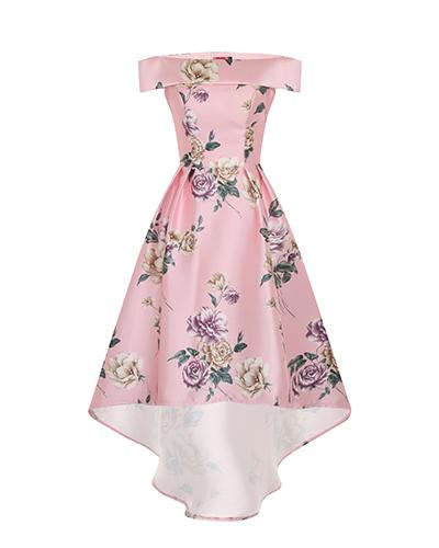 Charming Serenity Floral Print Dip Hem Dress, £64.99, Chi Chi London