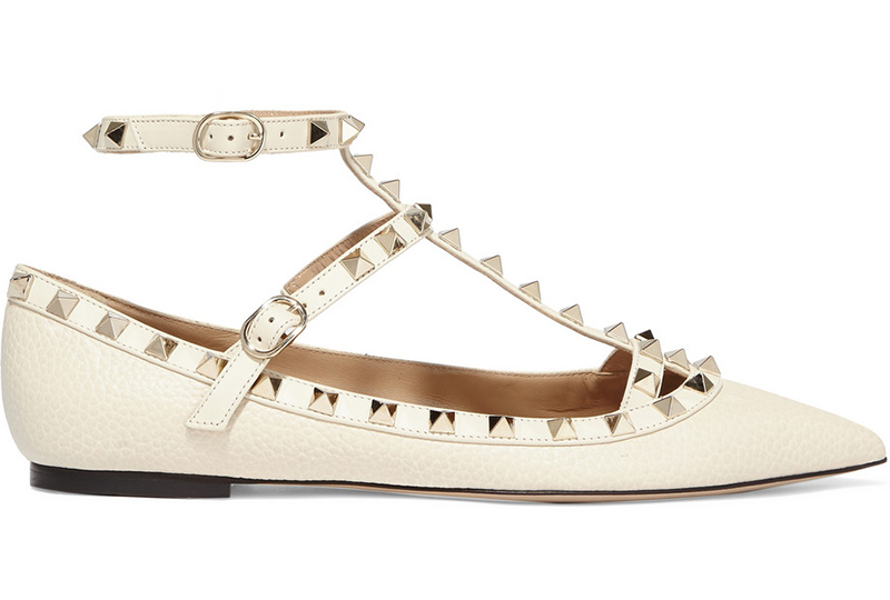 5. Net-a-porter Valentino Rockstud textured-leather flats