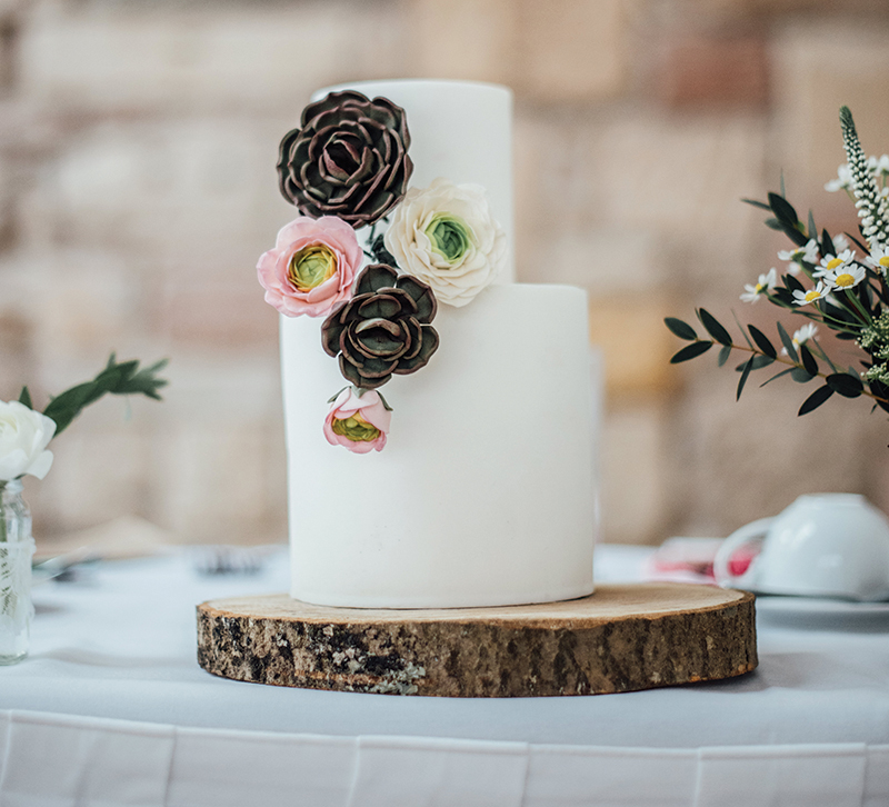 Baked's cake makes effective use of succulents ranunculus blooms