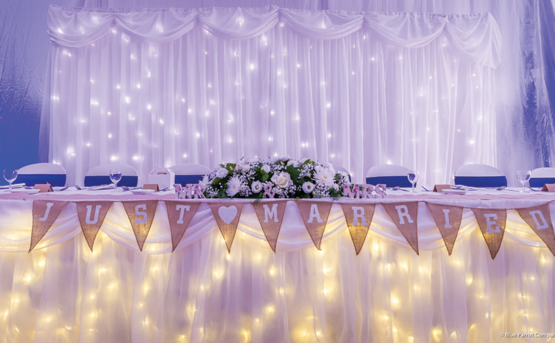 It doesn't get much better than the Blue Parrot Company's full room starlit draping