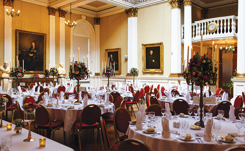 A reception set-up at the Merchant's Hall