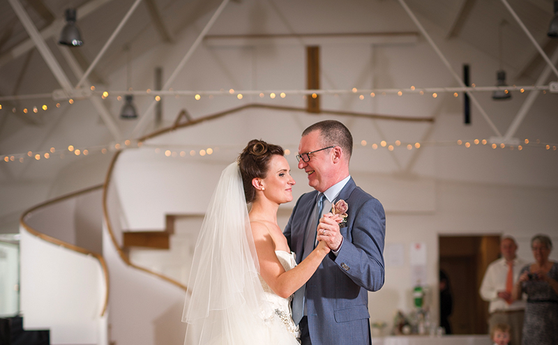 The bride and groom take to the floor at Crear for their first dance