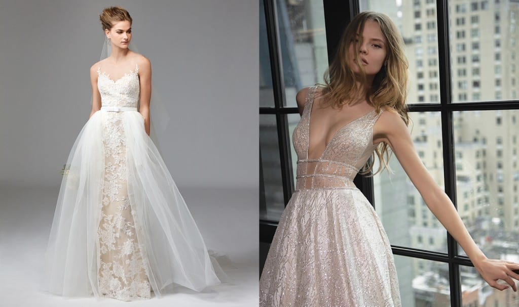 Zella wedding dress, £1,930, and Weatherstaff overskirt by Watters, £340, Anne Priscilla Bridal Deep V-necked embellished gown (style 16-101) by Berta, £POA, Opus Atelier