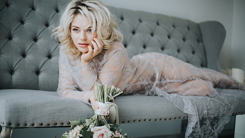 Stunning photos from a bridal boudoir shoot at Joyce Young's gorgeous showroom
